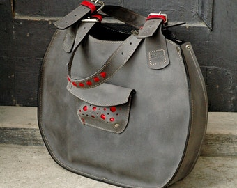 bag handmade leather handbag woman Lusi gray
