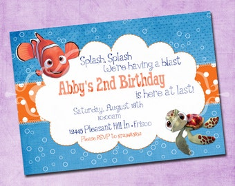 Finding Nemo Ocean Blue Birthday Invitation