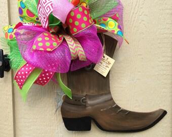 Wooden cowboy boot door hanger