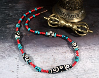 Dzi Necklace, Turquoise Coral Necklace, Tibetan Dzi Beads, Ethnic Necklace, Buddha, Buddhist, Mala,Statement Necklace,Yoga Jewelry, Beadwork