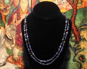 Kyanite Necklace, Layered Necklace, Blue Kyanite Beaded Necklace, Multi Strand Necklace, Ancient Jewelry, Statement Necklace, Beadwork