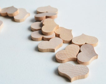 "50 Miniature Wooden Country Hearts 1-1/4"" x 3/16"""