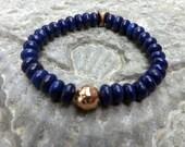 Blue lapis bracelet   Lapis Stretch bracelet Lapis and Copper boho jewelry handmade