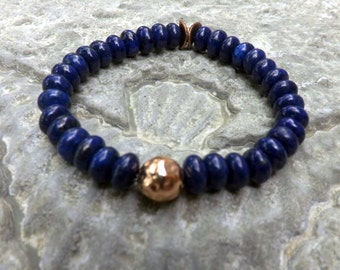 Blue lapis bracelet   Lapis Stretch bracelet Lapis and Copper boho jewelry handmade