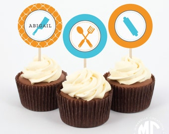 CUSTOMIZABLE Party Circle or Cupcake Toppers -- Cooking Party Collection -- Mirabelle Creations