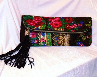 Christmas gift ,Bohemian purse Boho , Urban folk Clutch , Floral Clutch , Cocktail Clutch , OOAK Clutch ,Chic Clutch