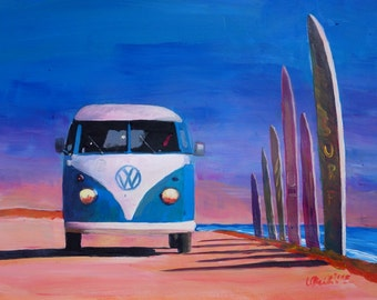 Surf Bus Series - Blue White VW Surf Bus T1 Kombie Bulli at Surf Board Road - Limited Edition Fine Art Print