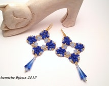 SuperDuo Bead TUTORIAL, Anthea earrings PATTERN  with seed beads and bicone - Earrings DIY