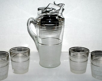 Vintage frosted glass and silver pitcher with glasses retro kitchen and barware