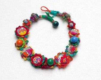 Colorful rustic necklace, mixed media statement jewelry, OOAK fiber art