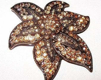 """Fall Flower Brooch Mink Brown Topaz Rhinestones Gold Metal 2.5"""" Vintage"""