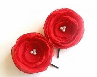 RED Wedding Hair Flowers, RED Flower Clips, Red Bridal Hairpiece, Wedding Hair Accessories, Flower Girls, Bridesmaids Gift, Chiffon