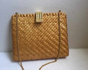 Authentic Bonwit Teller Rodo Italy Wicker Leather Gold Chain Strap Purse