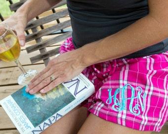 Ladies Flannel Shorts - Monogrammed - 8 colors -Set of 4 - Bridesmaid - Sorority - Sister
