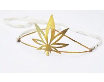 LONG STRANGE TRIP // Ganja Baby Pot Leaf Marijuana Tiara Crown Hatband Headpiece with White Leather