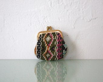 Vintage Tiny Needlepoint Tapestry Coin Purse