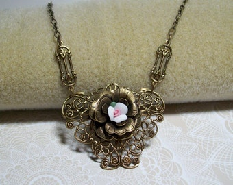 Pink and White Rosebud Victorian Style Necklace. Brass Filigree Necklace. Wirewrapped Necklace. Victorian. Vintage Wedding.