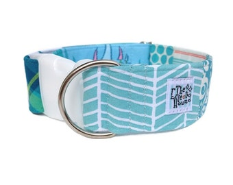 """SALE: Turquoise Patchwork Dog Collar - Adjustable 1.5"""" Side Release Buckle Collar size Extra Large XL"""