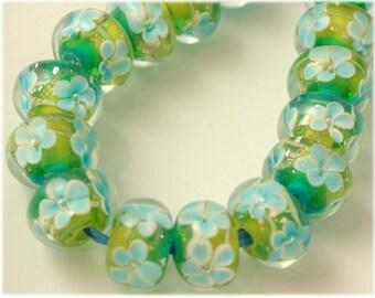 Encased Garden Lampwork Glass Rondelle Beads Blue Flowers