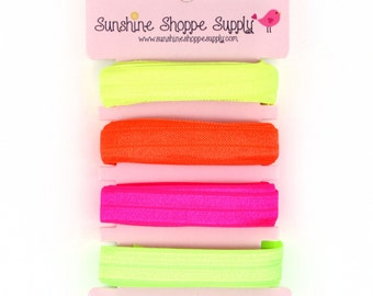 Fold Over Elastic (FOE) 4 Color Bundle, Satin Elastic for Headbands and Hair Ties - Neon