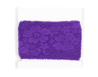 Stretch Lace - TWO inch wide - 5 or 10 yards - Purple