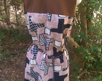 60s DIVINE ABSTRACT PATTERN Sheath Dress with Black White and Blocks All Over