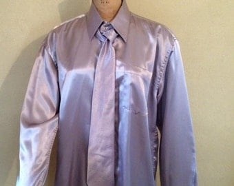 Men's shiny long sleeve silver dress shirt and matching silver tie