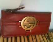 1970s Vintage GUCCI Leather Key Wallet, Holder, Case, Chain, Pouch Coin