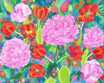 Pink Peonies and Red Tulips After Rain Watercolor Painting, Bright and Fresh Spring Flower Garden Fine Art Print