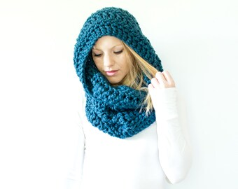 the CHEROKEE cowl - chunky cowl scarf hood circle scarf - denim - slightly ribbed