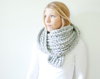 the ALPINE scarf - chunky crochet infinity scarf - marble
