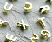 1 - Gold UPPERCASE Alphabet Charm Beads Shiny 24K Gold Plated Tiny Delicate Pretty Monogram initial letter