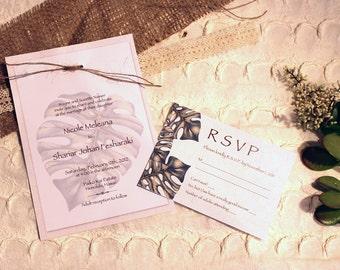 Rustic Monstera Leaf Invitation
