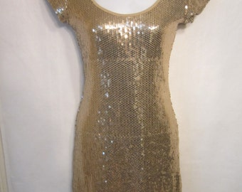 Vintage 80's Gold Sequin Mini Dress