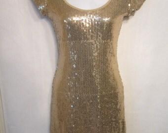 Vintage 80's Gold Sequin Mini Dress