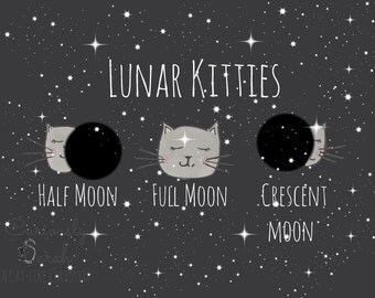 Lunar Kitties - Full Moon, Half Moon and Crescent Moon, Fine Art Print, Wall Art Home Decor, Whimsical Art, Poster Art Print, Gift, Cat Art