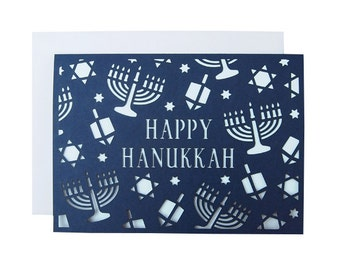 Hanukkah Pattern Laser Cut Card