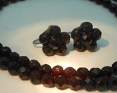 Vintage 1950s Faceted Glass Garnet Beaded Necklace and Matching Earrings