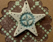 50% OFF Rustic  Gear and Star Pendant handmade bead with white and turquoise glaze
