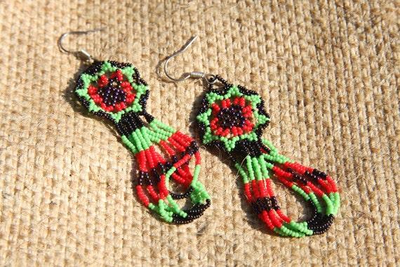 Spider Woman,Ethnic earrings,Native American Huichol,rustic boho,ethnic earrings,ethnic feminine jewelry,mexico art huichol,mexican folk art