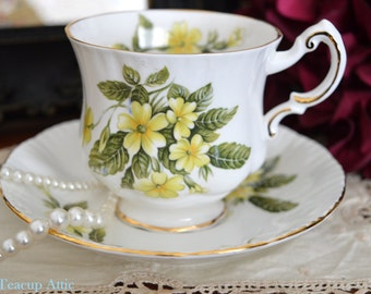 "Paragon ""Flower Festival"" Teacup and Saucer Set, Yellow Primroses Teacup, Bone China Teacup Duo,  Circa 1952-1963"