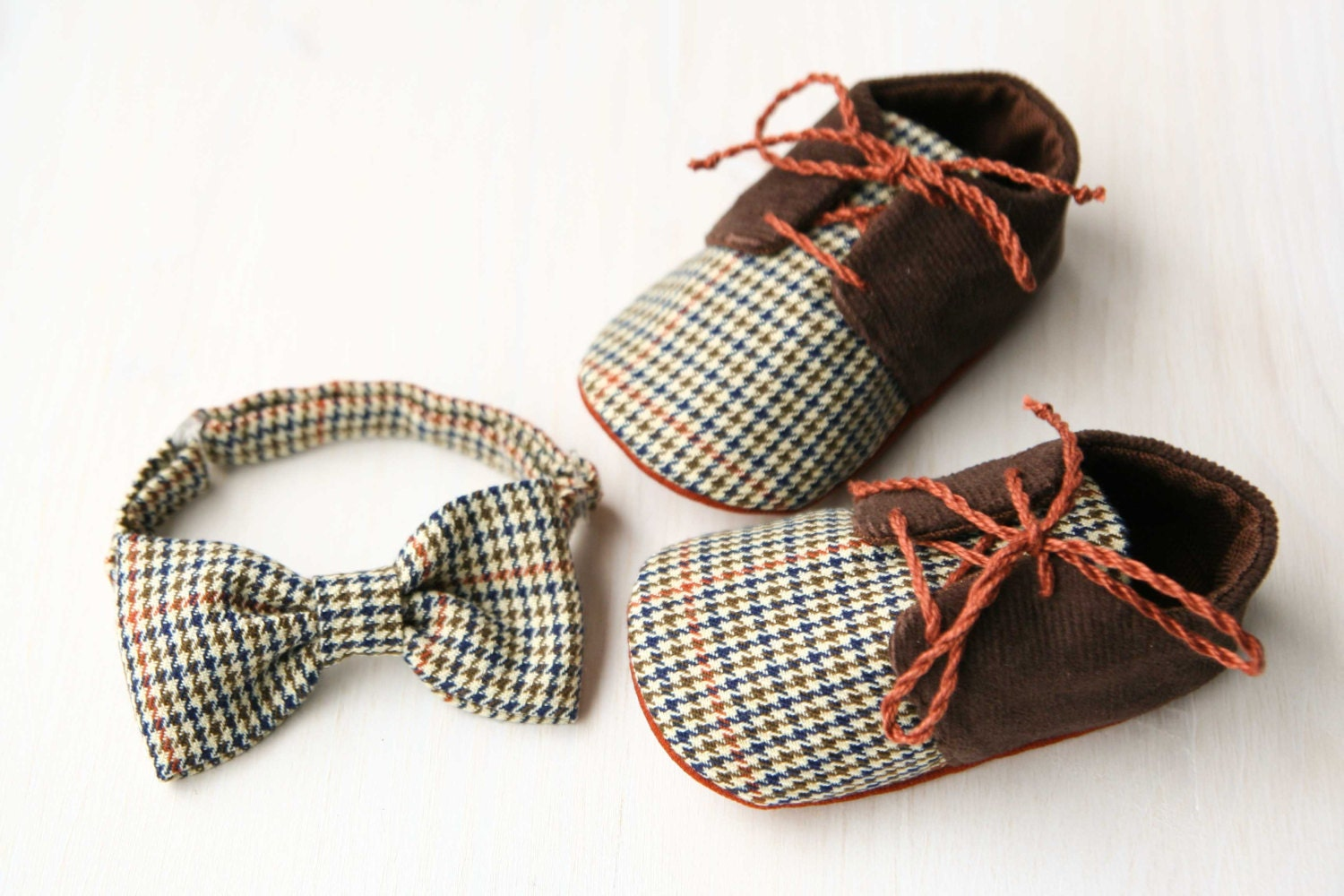 Baby boy gift set shoes and bow tie brown plaid corduroy