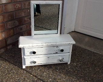 Vintage WhiteToy Wood Dresser Drawer with Mirror