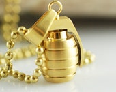 Mens gold grenade necklace, stainless steel grenade charm necklace, gift for boyfriend
