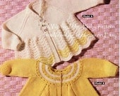 Vintage Baby Knitting Pattern PDF B089 for 2 matinee coats emailed from WonkyZebraBaby
