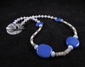 Blue Kazuri bead hand beaded necklace, kazuri bead necklace, African bead necklace, blue necklace, kazuri necklace,