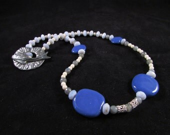 Hand beaded necklace, african beads, Kazuri bead necklace, blue chalcedony necklace, labradorite necklace, silver koi fish necklace, African