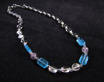 Hand beaded blue and clear glass necklace, hand beaded blue necklace, hand beaded necklace, blue necklace