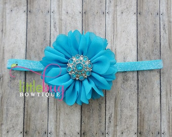 Turquoise Headband, Glitter Headband, Flower Headband, Baby Headband, Girls Headband, Toddler Headband, Birthday Headband, Cake Smash