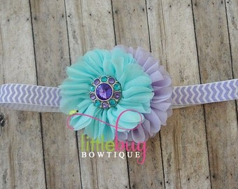 Lavender Aqua Turquoise Headband Chiffon Flowers Rhinestone Button on Purple Chevron Elastic Headband for Girls Newborn Photo Prop Babies